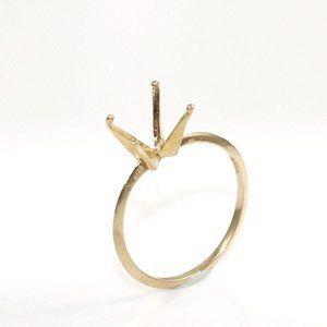 Solid 14K Gold Knife Edge Setting Mounting Ring